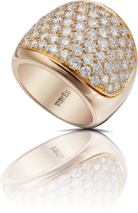 Yellow 18kt Gold Ring with Pave diamonds